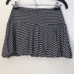 Cute Navy and Gray Strip Pleated Skirt